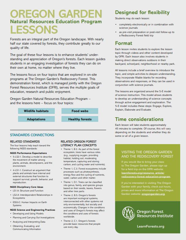 Oregon Garden Natural Resources Education Program Lessons